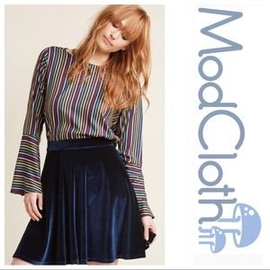 ModCloth Blue Velvet Skater Skirt Size 2X